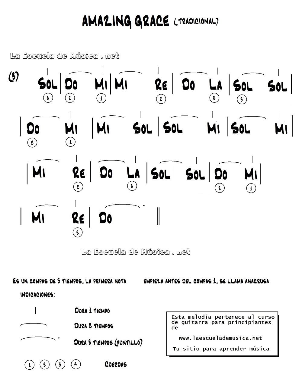 Blanca Navidad para guitarra fácil - Partitura de AMAZING GRACE