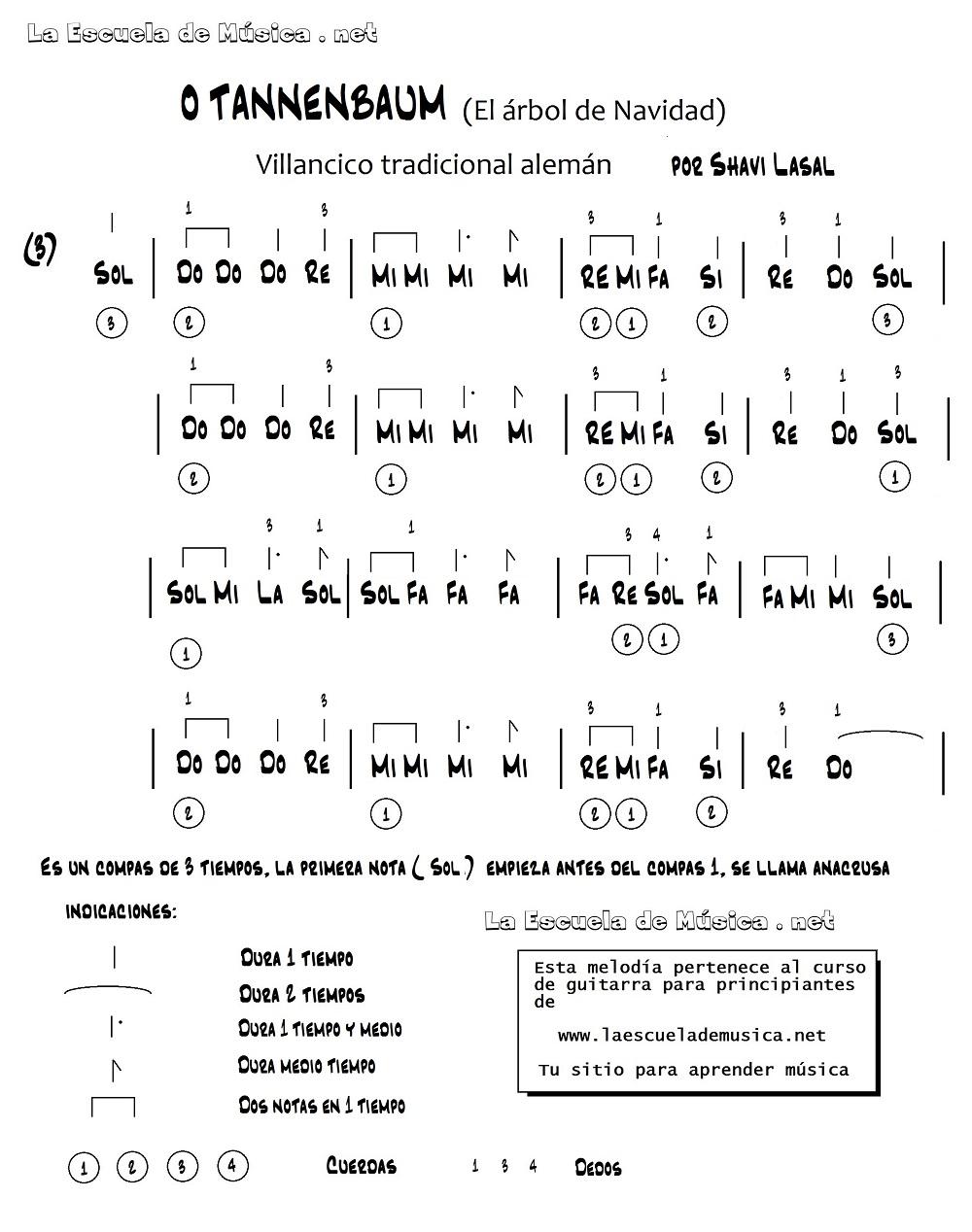 Blanca Navidad para guitarra fácil - Partitura de O Tannenbaum